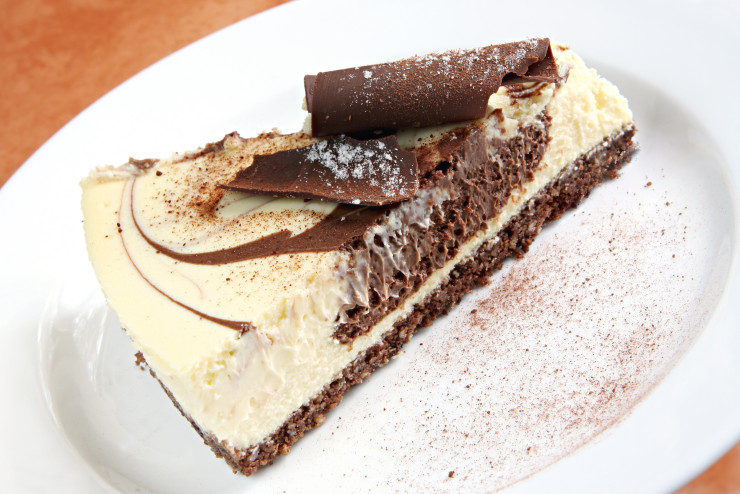 Chocolate cheesecake, baked to perfection.   Delicious!