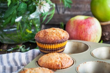 Fresh homemade delicious apple muffins for breakfast